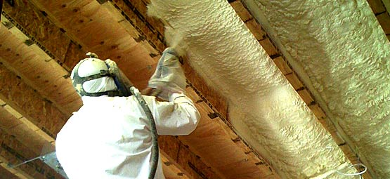 spray foaming a basement